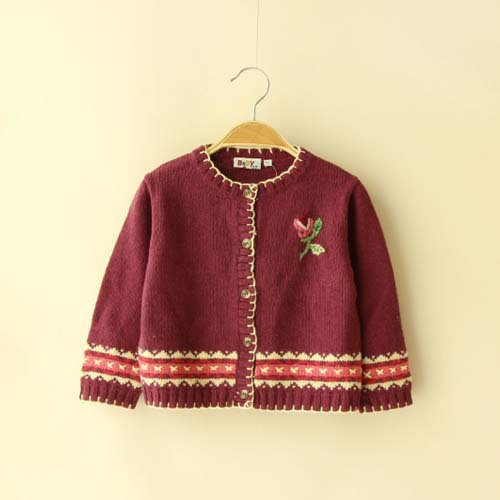 [TAW7016] fall children sweater new design o-neck flower printed kids cashmere sweater