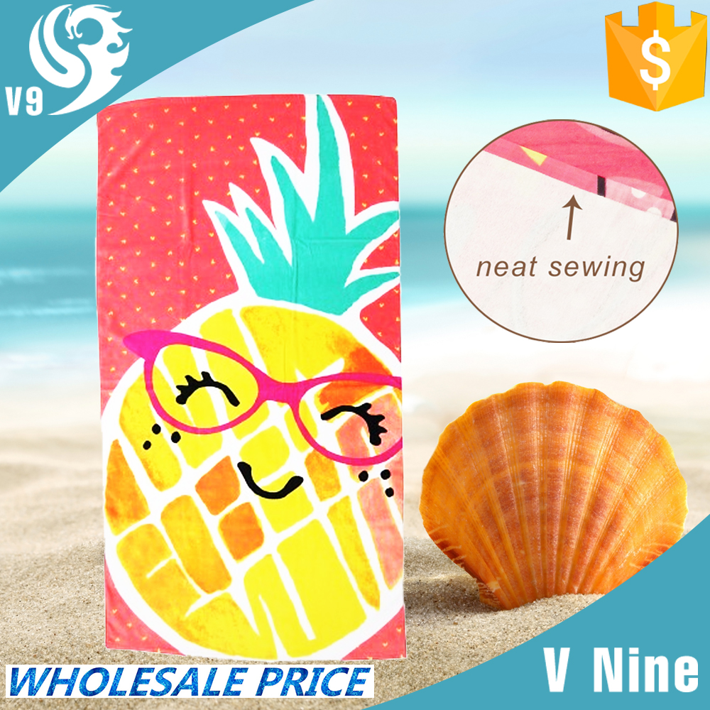 promotion gift 100% cotton velour custom brand printed fiber reactive beach towel