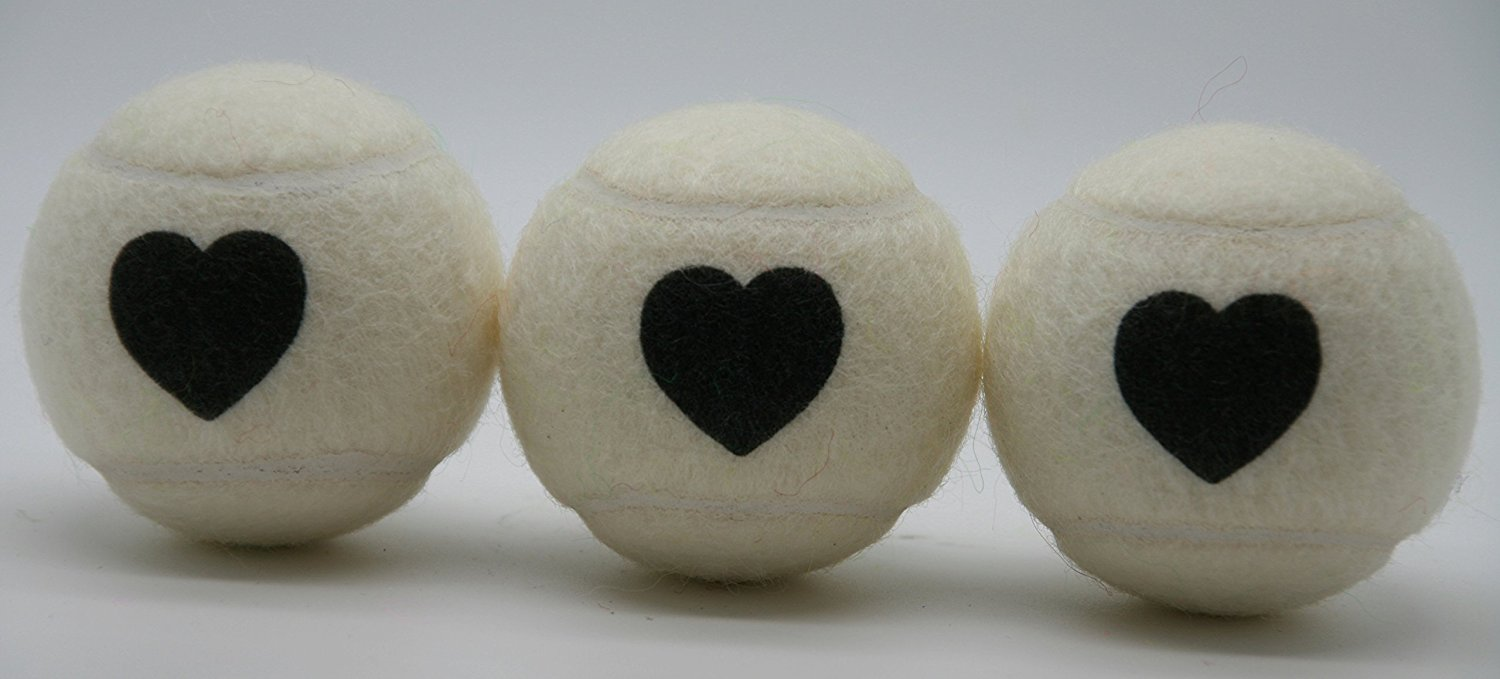 Price's Heart Motif Type 2 Tennis Balls (1 x 3 Ball Tube). Pressureless, Durable and Long Lasting. Available in Fun Colors with a Heart Motif. Made in the UK.