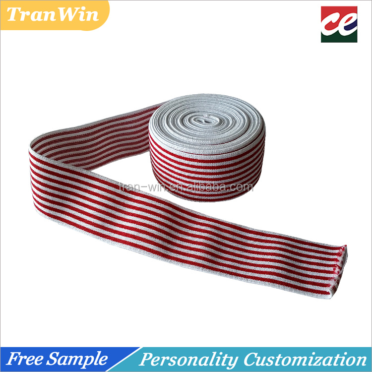 50mm wide colorfull woven jacquard stripe elastic webbing band