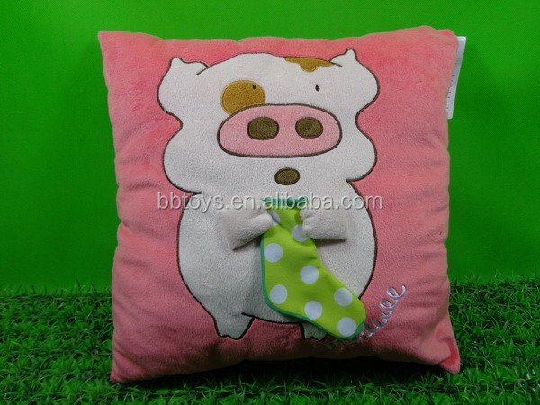 Top quality plush pink pig cushion pillow, plush animal shaped body pillow