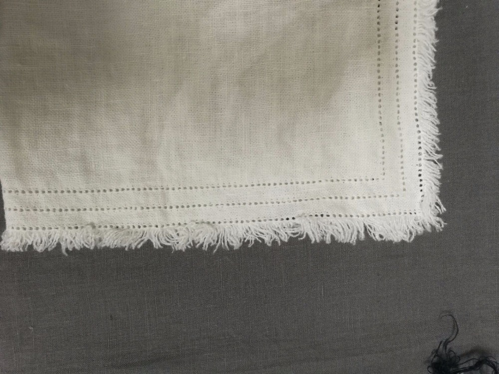 Vintage heavy flax linen table cloth placemat napkin with dot hemstitch frayed edge