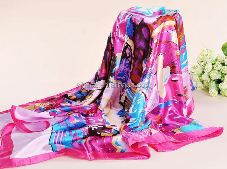 wholesale promotional satin silk square printed scarf
