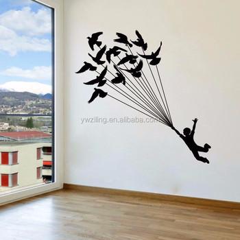 ya661 children and birds flying wall sticker kids room decoration