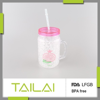 Best selling fashionable unique shaped customized plastic mason jar with handle