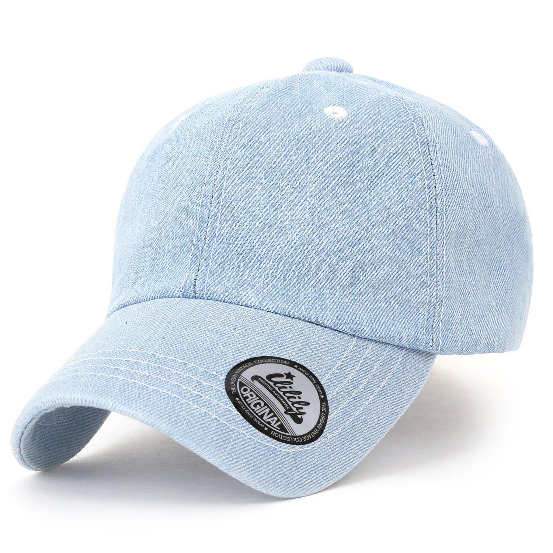 ililily Vintage Washed Denim Cotton Baseball Cap Solid Color Casual Trucker Hat