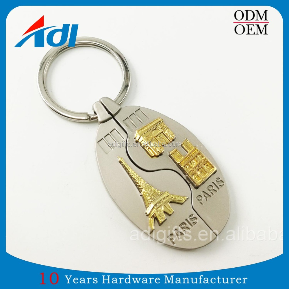 Wholesale cheap custom 3d double plated eiffel tower keychains no minimum