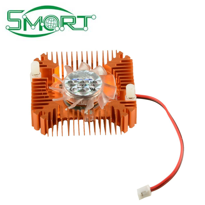Smart Electronics~55mm 2 PIN Graphics Cards Cooling Fan Aluminum Gold Heatsink Cooler For Personal Computer Fans Cooler