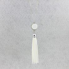 Монограмма акриловые диск заготовки Длинная цепочка Кулон Boho бархат кисточкой ожерелье для женщин Стильные персонализированные украшения(Китай)