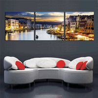 wholesale Cheap 3 panel canvas wall art painting ,Venice Amsterdam Watertown view Canvas print home decoration for living room