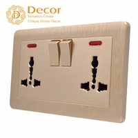 Decor Electric Universal MF multi function grouded double gang switched wall socket with neon
