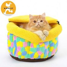Colorful cute lovely yellow cat and dog round bed supplies
