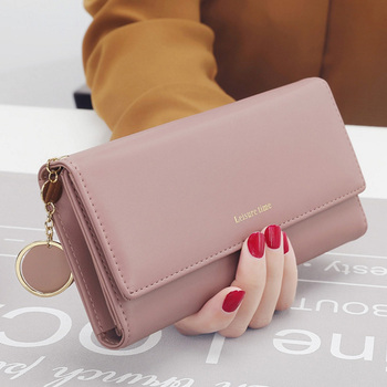 Fashionable Womens Wallets And Purses Carteira Portefeuille hasp pure leather wallet with cards holder