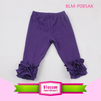 New Boutique Cute Baby Icing Purple Solid Knitted Kids Ruffle Pants