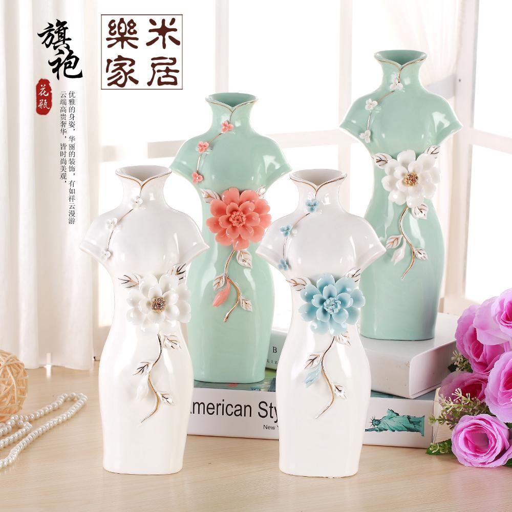 Wedding Gift Vase: Creative Chinese Cheongsam Style Ceramic Vase Wedding