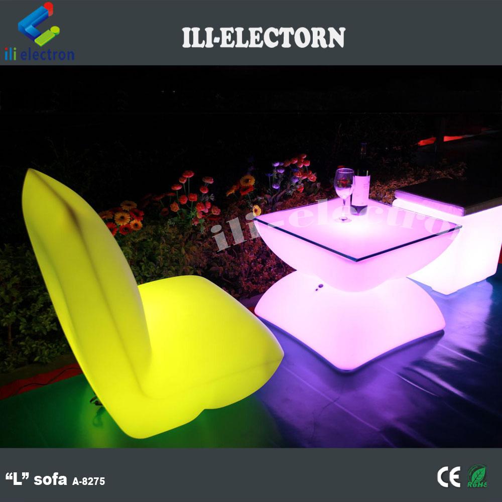 PE muebles de jardín de plástico iluminación iluminado mesa de ...