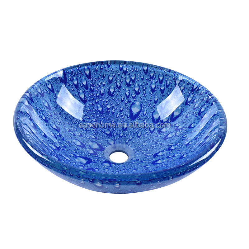 Bathroom 16 Round Tempered Glass Washbasin With Blue Water Drop Pattern Design Buy Bathroom 16 Round Tempered Glass Washbasin With Blue Water Drop Pattern Design Drips Design Glass Vaniti Basin Water Drip Glass