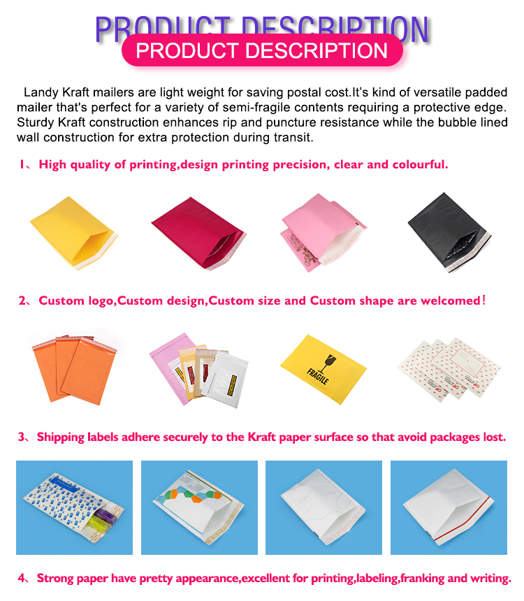 custom size Cushion mailer Bulk a2 a3 a4 a5 a6 a7 jiffy bags dimensions bubble envelopes