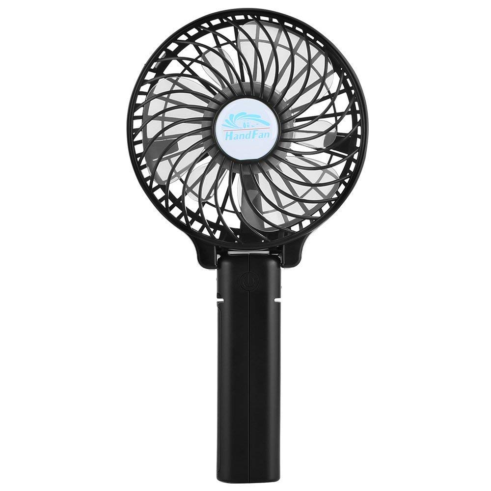 Ivishow Mini Handheld Fan, Run Quiet Portable USB Rechargeable Handy Personal Fan Desk Desktop Cooling Fan with Battery Operated Powerful 3 Speeds, Foldable Hand Held Fan for Hold/Clip/Sit (Black)