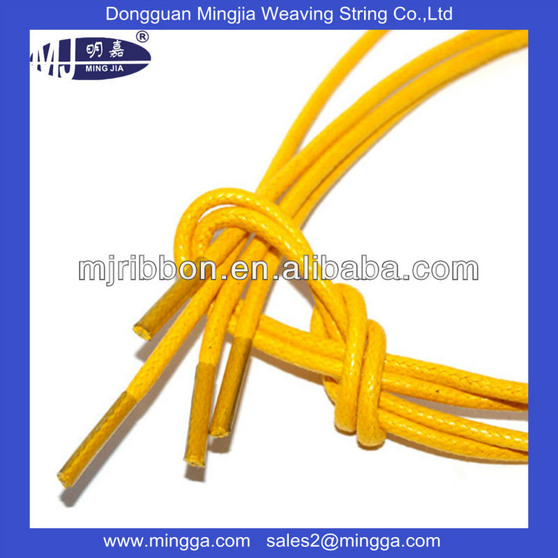 Waxed Round Cotton Shoe Boot Laces Shoelaces with Customized Color
