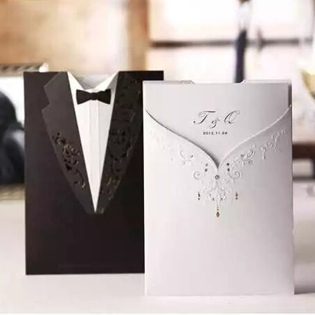 best selling 2017 3D bride and groom latest wedding dress design invitation cards CW2011