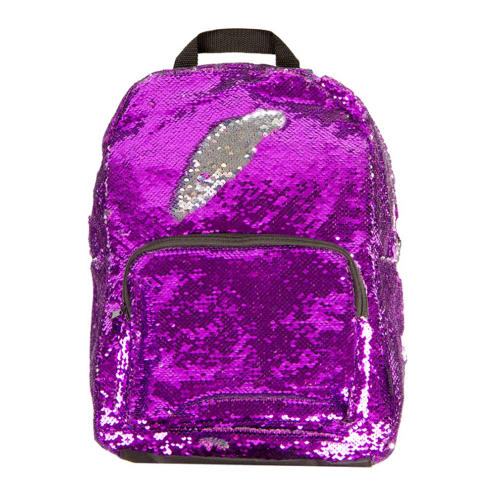 Style.Lab Magic Sequin! Reversible Purple to Silver Fashion Backpack, Purple/silver