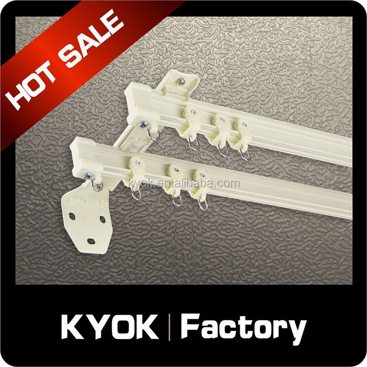 KYOK curved curtain track & curtain rod accessories factory,double hotel curtain track