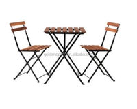 Garden Table + Two Chairs,Outdoor Folding Furniture Wooden Bistro Set