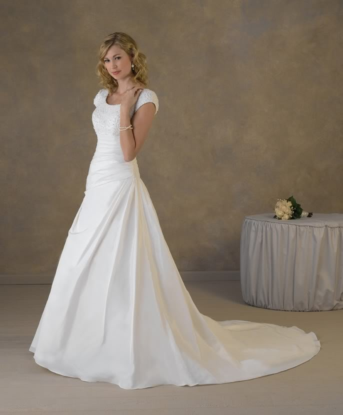 Simple Wedding Dresses With Sleeves: Simple Design Cap Sleeves Appliqued Satin A Line Wedding