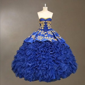 Luxury Ruffles Quinceanera Dress with Gold Embroidery Royal Blue Puffy Prom Dresses Girls Sweet 16 Ball Gown 2019