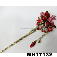 antique crystal flower metal hair stick barrette