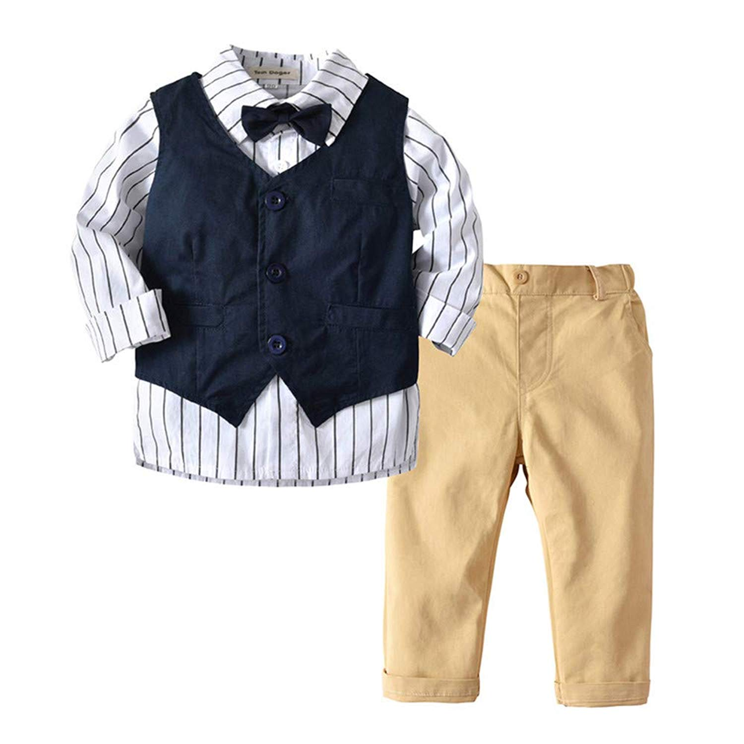 9c761b5e5 Tem Doger 3PCS Toddler Baby Boys Gentleman Striped Bowtie Shirt+Vest+Khaki  Pants Formal