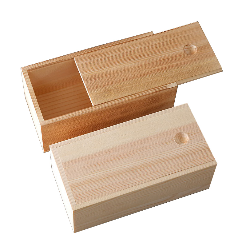 WanuoCraft Custom Natural <strong>Wood</strong> and Torched Color Sliding Lid Wooden Gift Packing Storage Box