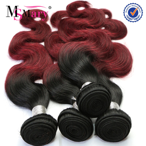 Cheap Good Quality 1B Burg Red Remy Brazilian Body Wave Ombre Braiding Hair