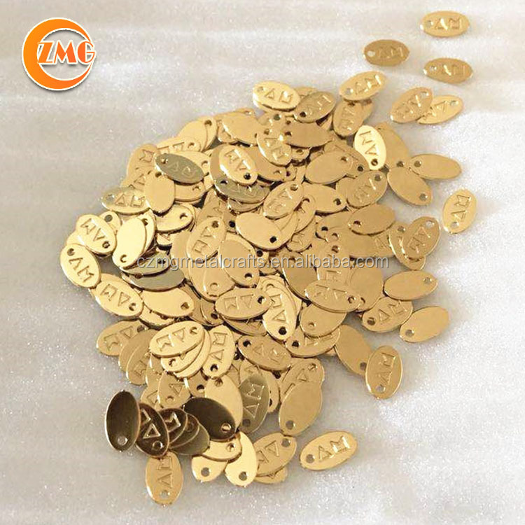 Wholesale cheap high quality Small brand logo engraved pendant custom metal charm jewelry tags for bracelet/necklace
