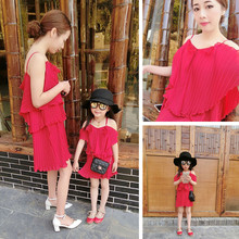Matching Mother Daughter Clothes Fashion Family Outfits Mom Girl Dress Mommy Summer fashion solid Sleeveless chiffon