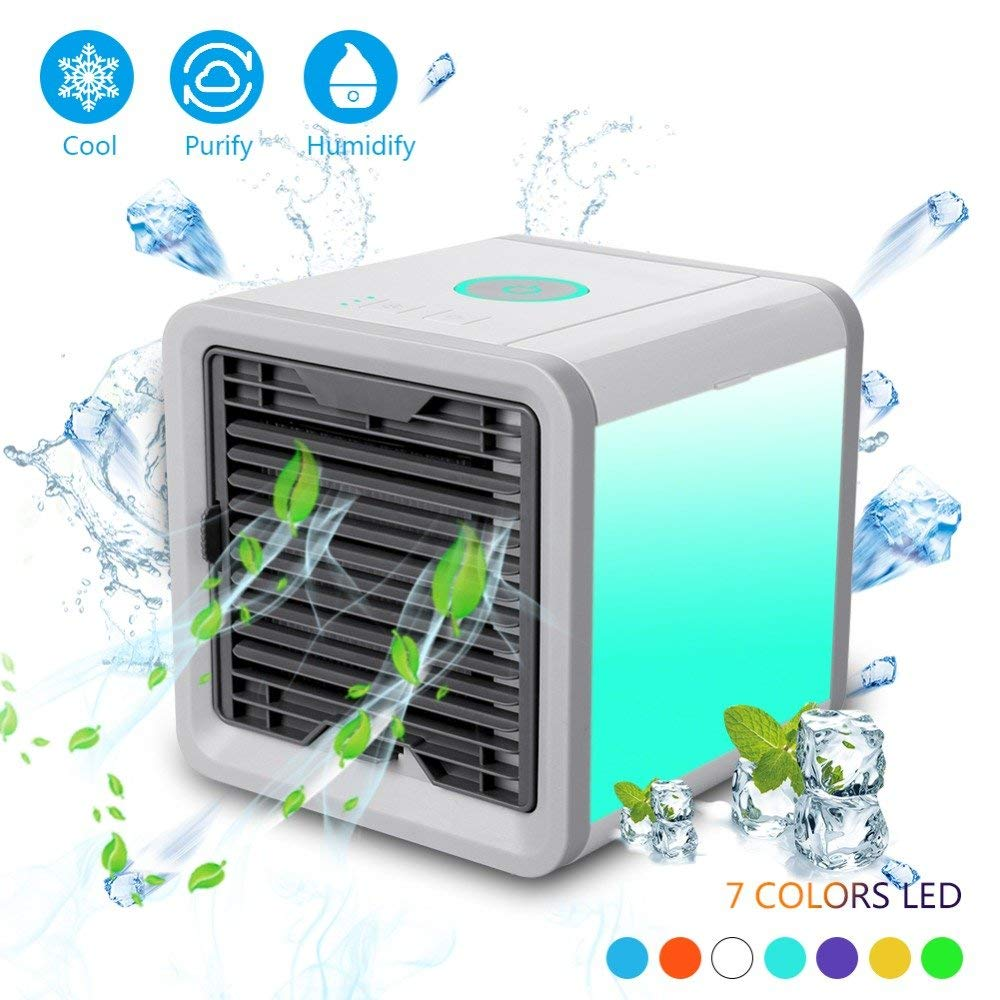 Just_for you - New USB Portable Air Conditioner, Cooling Fan Summer Portable Strong Wind Add Water/Ice Cooler Small Cube Mini Fans.