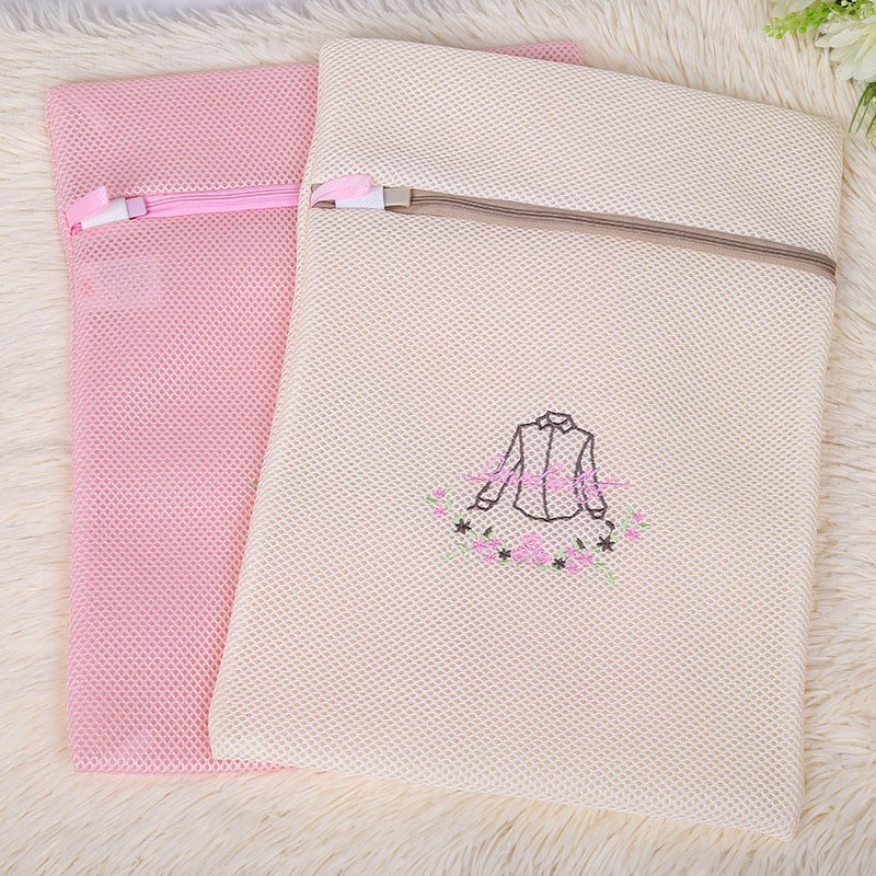 Embroidery coarse mesh square folding laundry bag