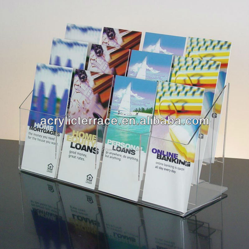 acryl/12-pockets Clear Acrylic Brochure Holder-y1307262/4*3 pockets acrylic brochure holder/Countertop pamphlet display stand
