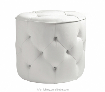 JR 03 Modern Contemporary White Color Genuine Leather Crystal Tufted  Leisure Neoclassic Stools Ottoman Chair