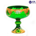 wholesale green glass fruit bowl gift home decoration accessories table standing bowl