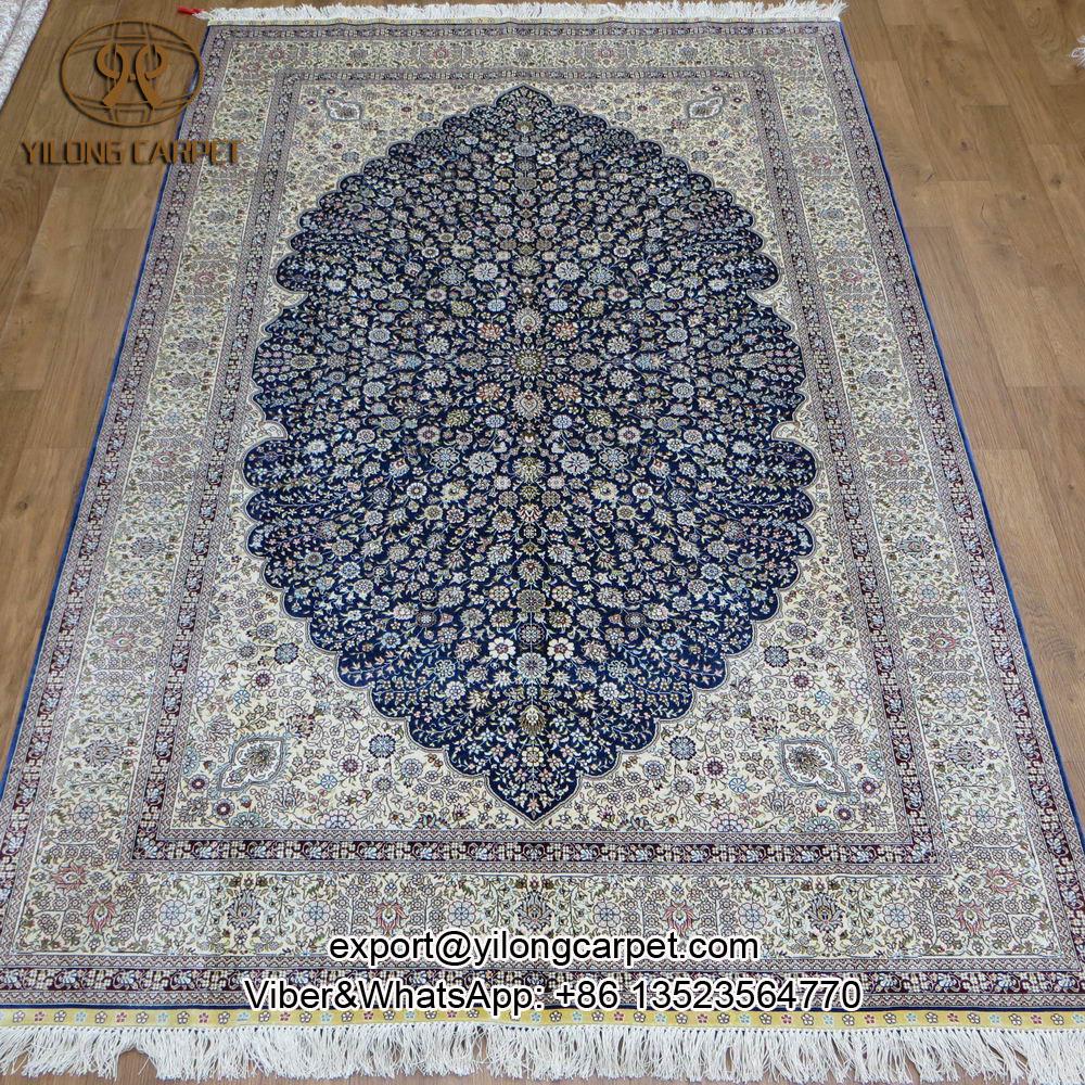 cheap delightful tapis oriental pas cher yilong ux unou double noeuds bleu persan fait with. Black Bedroom Furniture Sets. Home Design Ideas