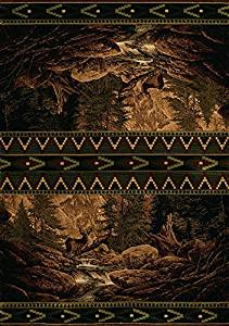 "8x11 (7'10"" x 10'6"") Lodge Cabin Southwestern Buck Deer Forest Carved Area Rug /#B4G341TG 32W4-15RTH783464"