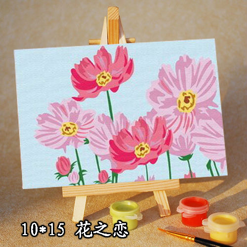 kids mini canvas paint set with wooden easel