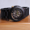 Seagull Movt Black Wooden Skeleton Watch, High End Ebony Wood Watch