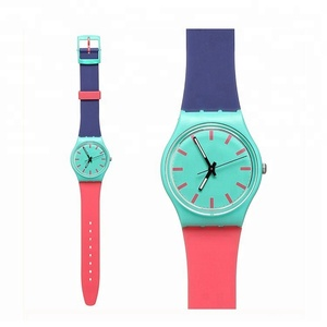 Factory Direct Selling Customized Printed Watch Colourful Fashion Quartz Plastic Strap Watch For Gift