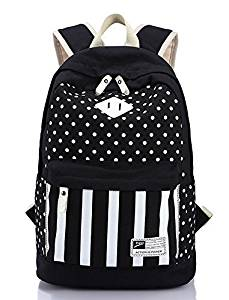 LIZAIDA MENENDEZ Geometry Stripes Dot Casual Canvas Backpack Bag, Fashion Cute Lightweight Backpacks for Teen Young Girls, School Backpacks, Student Backpacks, Trend Fashion Backpacks,Travel Backpacks