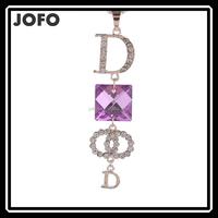 2015 Beautiful New Design Purple Long Drop Letter D Crystal Necklace Pendant Jewelry