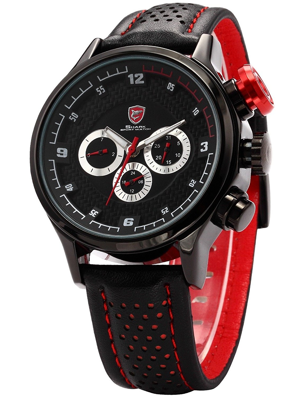 ++Canaloha:)++NA ver SHARK Big Case Swiss 6 Hands Racing Black Sport Military Quartz Watch