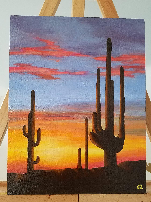 "Original Art - ""Desert Sunset Series 4"" - Original Acrylic Painting on Wood, 8x10"